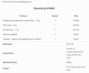Mijn eerste bestelling bij schotsehooglanders.nl was voor €131,50 in mei van 2019.